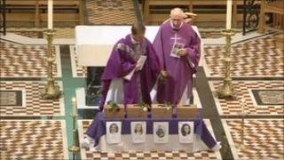 Funeral mass at St Thomas church