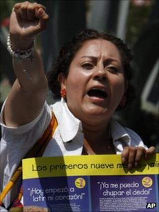 An anti-abortion campaigner outside Mexico's Supreme Court on 28 September