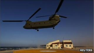 Chinook aircraft in action in Libya