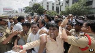 Pro-Telangana protestors in Hyderabad