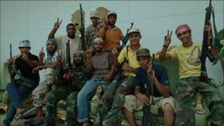 Pro-Gaddafi supports at Sirt airport