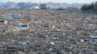 Natori, near Sendai, Japan after the earthquake and tsunami in March