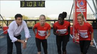 Locog chair Seb Coe with athletes Hannah England and Christine Ohuruogu and actress Tamzin Outhwaite