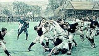 International rugby match at Raeburn Place in 1886