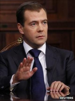 Russian President Dmitry Medvedev during an interview with Russia's three leading TV channels at the Gorki residence outside Moscow, 29 September 2011