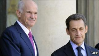 Greek Prime Minister George Papandreou (left) meets French President Nicolas Sarkozy in Paris, 30 September