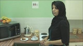 Nosheen Saeed in the kitchen at the Papworth transplant hostel