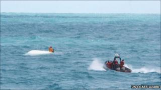 The rescue of Nick Schuyler, in a Coast Guard handout photo