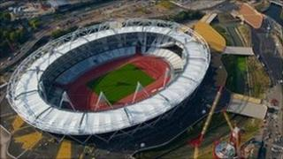 The Olympic Stadium, in the foreground with other venues behind
