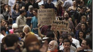 Occupy Wall Street demonstrators in Zuccotti Park, New York