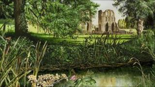 Landscape painting of Roche Abbey by Stephen Smith