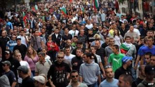 Anti-Roma protest in Sofia, Bulgaria - 1 October 2011