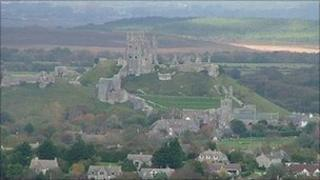 Corfe Castle and the surrounding countryside