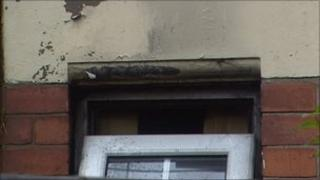 Damage to the house in west Belfast