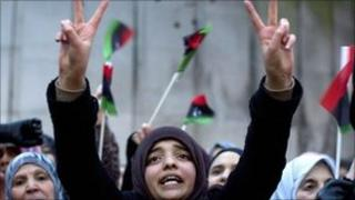 People demonstrate again Libya's Gaddafi regime