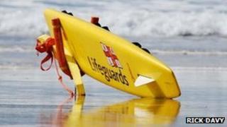 RNLI Lifeguards rescue board (Photo: Rick Davy)