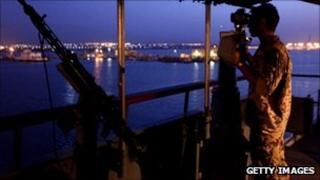 A German soldier takes part in an anti-piracy patrol