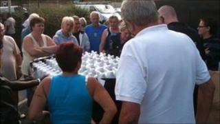 People in the Bretch Hill area of Banbury collect water bottles