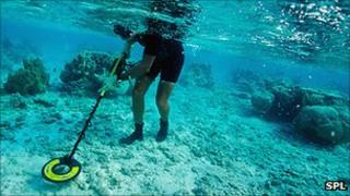 Metal detecting underwater