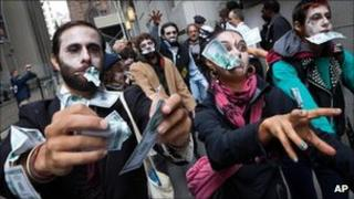 Corporate Zombies at Wall Street protests
