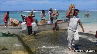 Unloading cargo on Tokelau islands (file image)