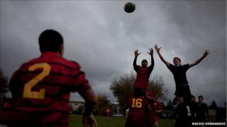 Lineout during a game at Rotorua Boys' High School