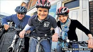 Rod Whiting, John Pakey and Louise Wheeler before their 1000km Children in Need cycle challenge from Neustadt to Lincoln