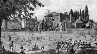 The boys of Reading School at play, 1816