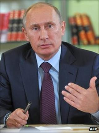 Vladimir Putin at Russian State Library in Moscow, 28 Sept 2011