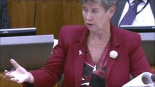 Finance Minister Jane Hutt delivering the draft budget