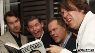 Lee Evans (second left) with Jimmy Carr, Jack Dee and Jonathan Ross
