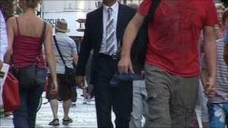 People walking in King Street, St Helier