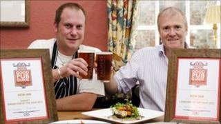 New Inn chef Dan Brinklow (left) and landlord Jeremy Lee (right)