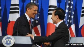 US President Barack Obama and South Korean President Lee Myung-bak