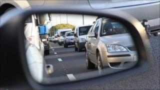 Cars in wing mirror
