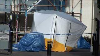 Forensic tent in Castletown, Isle of Man