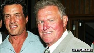 Charles Napier (right) pictured with Sylvester Stallone in 2003