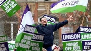 Unison members on strike