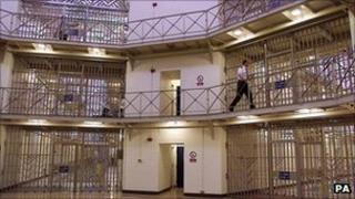 File photo dated 30/03/00 of a Prison officer in the Rotunda area of HMP Manchester