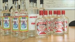 Seized fake vodka