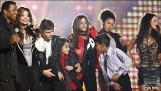 Michael Jackson's brother and sister Tito and La Toya and his children Prince Michael, Prince Michael II and Paris among those on stage