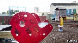 A rundown children's play area