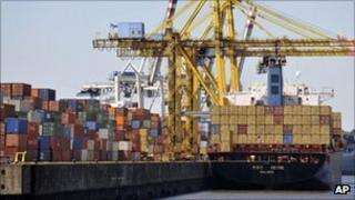 A container ship is loaded at Hamburg