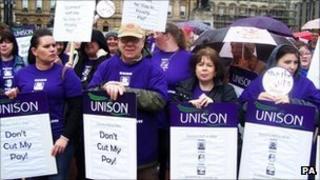 Unison members on strike in Glasgow on 6 September