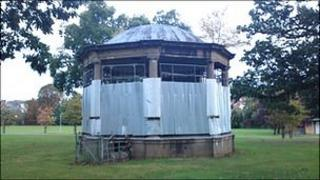 The boarded up bandstand at Castle Fields