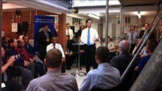 Ed Miliband opens a new £4m training centre at Worcester Bosch
