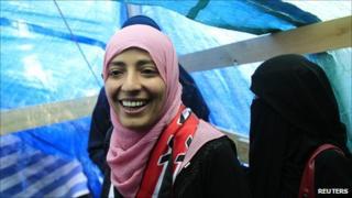 Tawakul Karman in her tent in Change Square in Sanaa on 8 October 2011