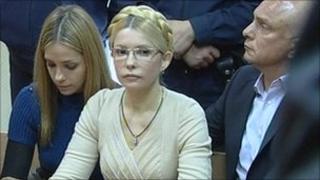 Yulia Tymoshenko, centre, in court in Kiev on 11 October 2011