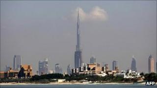 Dubai's skyline including the Burj Khalifa tower