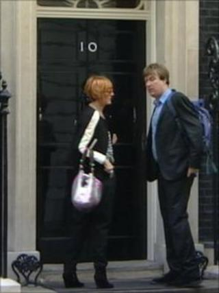 Mary Portas outside Downing Street